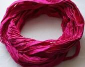 Recycled Silk Sari Ribbon seamed edge in Magenta Hot pink