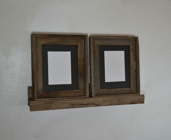 Rustic Ledge Shelf With 2 8x10 Barn Wood Frames