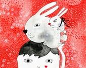 Bunny illustration, bunny, rabbit, white rabbit, bunny original painting - Bunnies on my head