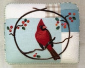 Needle Felted Winter Cardinal Pillow made from Upcycled Fabric by Val's Art Studio