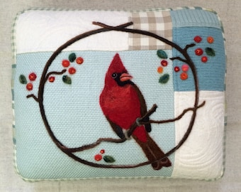 Needle Felted Winter Cardinal Pillow made from Repurposed Wool Sweater Fabric by Val's Art Studio, Bird Art Pillow, Unique Gift
