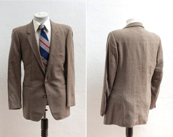 Yves Saint Laurent / Men's Suit / Vintage Brown Blazer and Trousers / Size 42