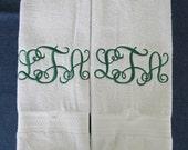 Mongrammed HAND/KITCHEN Towels- Interlocking Vine Font - Set of 2 - Custom Orders Welcome