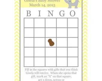 24 Personalized Baby Shower Bingo Cards  -  Elephant