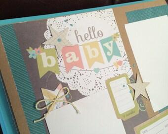 Baby scrapbook album, 12 x 12, best gift for baby boy, baby shower, gift for Mom