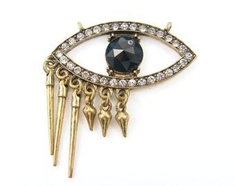 Eye Pendant, Evil Eye Rhinestone Blue Black Antique Gold Pendant with Dagger Charms |B12-13|1