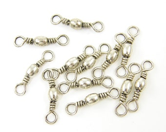 8 Pieces Antique Silver Wire Wrapped Bead Jewelry Connector Link Finding Double Loop |S12-7|8 XS