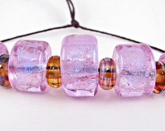 Lavender Flashes Lampwork Bead Set