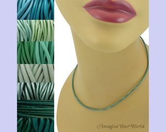 Custom Teal LEATHER Cord Necklace up to 24 inches long - choose shade, diameter, length, clasp color - 1.5 mm,  2 mm or 3 mm