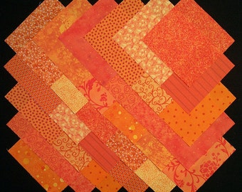 ORANGE Prints 100% cotton Prewashed 5 inch Quilt Fabric Block Squares (#B/29A)