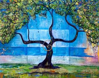 Small Print Tree Art - Under the Olive Tree