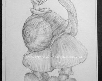 Snail and fae by Renae Taylor (original drawing)