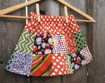 Ready to Ship --- Owls Patchwork Ruffled Tiered Girls Skirt - SIZE XS (((12M-3Tish)))