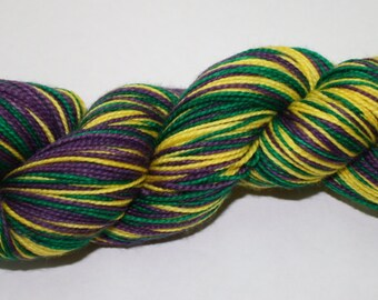 Mardi Gras Self Striping Hand Dyed Sock Yarn