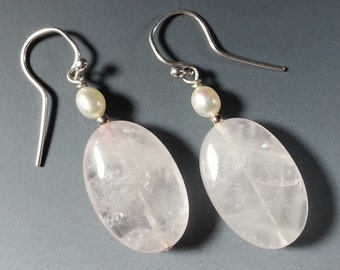 Lovely Rose Quartz Oval Earrings with Pearls