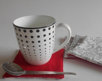 Gray Damask & Red Dot Quilted Fabric Coasters Set of Four