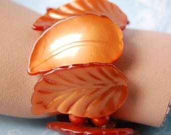 1950s Plastic Leaf Bracelet Orange Lucite As Is Vintage
