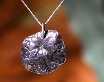Solid Silver Nasturtium Leaf Necklace - Made With A Real Leaf  And Totally Unique
