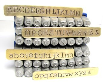 Typewriter Letters .25 inch, 6 mm upper case lower case Font Metal 1/4 inch Alphabet stamps, large 6 mm letters