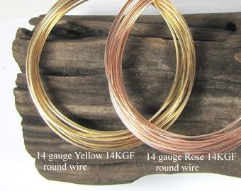 Rose Gold filled, yellow Gold filled 14 gauge round wire, adjustable bracelet bangle magic, stack ring fun, per foot