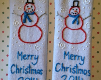 Personalized Socks - Christmas - Custom Hand Painted by Bittersweet Design Studio Adult Teen Tween Women