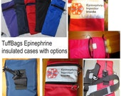 epinephrine case pouch carrier INSULATED zippered bag basic for Epi Pen ®  Auvi-Q ® pouch -select your color