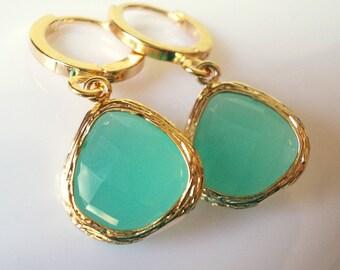 Little mint hoop drop earrings seafoam sea foam green gold plated jewelry dangles small dainty earrings for women girl elegant bridesmaid