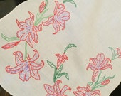 Vintage White Dresser Scarf/Table Runner with Hand Embroidery Lilies/Lily