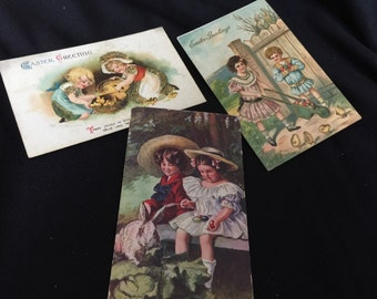 Set of 3 Antique/Vintage Early 1910's Easter Postcards with Children & Great Old Handwriting