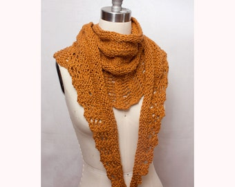 Long Scarf in Organic Cotton with Lace Edge