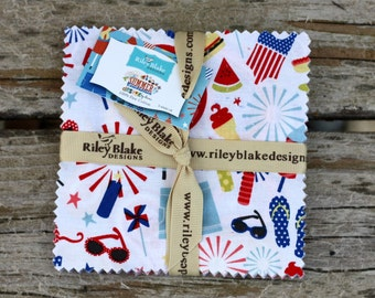 SALE 5 inch charm pack squares SUMMER CELEBRATION by Riley Blake from Design by Dani