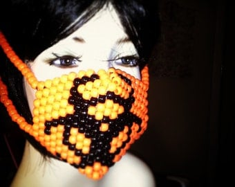 Biohazard Kandi Mask, Plur Rave, Kandi Surgical Mask in Orange and Black