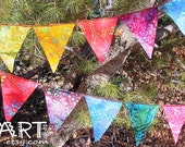 48 feet (14.63 m)  4 Sets of Rainbow All Batik Mini Flag Garland