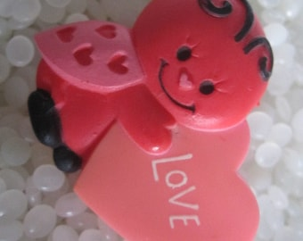 Hallmark Valentines Day Love! pink and red lady bug PIN Conversation Heart
