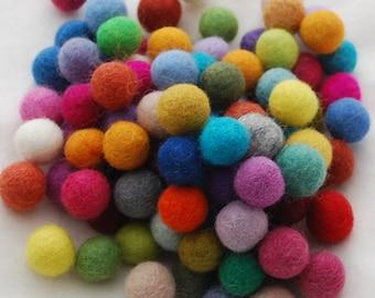 1.5cm / 15mm - 100% Wool Felt Balls - 100 Count - Assorted Colors