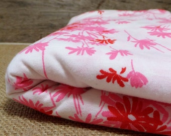 Vintage 1960's Stretch Knit Fabric in pink and red floral on white Mod Fabric