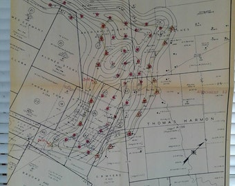 1961 Map , Oil Well, Pan American Petroleum , Corpus Christi District, Burnell Field, Oil Saturation Luling Oil Isopach, Texas