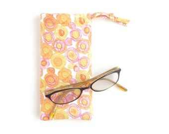 pink yellow sunglasses case. small drawstring bag. padded glasses pouch. floral woman glasses fabric sleeve. tween girl gift