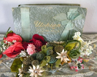 Antique Candy Box Filled with Vintage Millinery Flowers