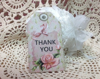 Thank You Gift Tags, Glittered Gift Tags, Glitter Roses, Thank Yor, Thank You Tags,  Thank You Notes,