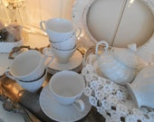 vintage johnson bros english ironstone all-white swirled snow white regency, tea set, 5 teacup trios with covered sugar and cream pitcher