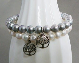 Cream Freshwater Pearl Bracelet sterling tree of life charm stacking friendship fashion jewelry Wedding Bridal