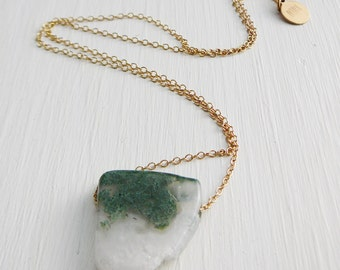 Gemstone Stone Pendant Necklace,  slab 18 inch 14kt Gold Filled Chain Geometric Nature Jewelry