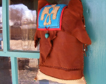 crossbody purse THUNDERBIRD deerskin leather 2 Pocket, Native American style purse, turquoise, Southwest apparel, leather shoulder bag