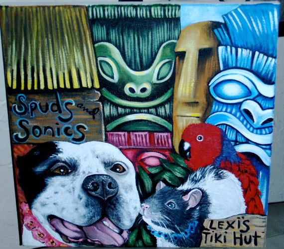 Custom commission TIKI DOG portrait Painting 10 x10 acrylic oIL of your pet any pet