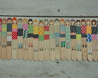 Set of 3 Popsicle Stick Wooden Dolls, Story Telling Sticks, Stick People, Wooden Dolls