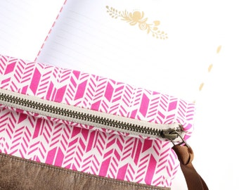 Zipper Clutch Purse, Large Pink Arrow Bag with Vegan Leather Trim