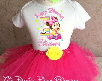 Baby Minnie Mouse Rainbow Birthday Tutu Outfit and Shirt First 1st 6 9 12 18 24 months baby infant toddler