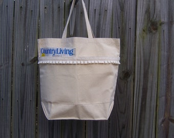 CLOSEOUT SALE -- Beach Tote Grocery Travel Large Canvas Cotton Fabric Lace Pleated Purse