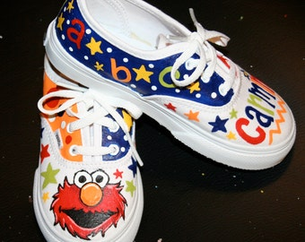 Boy's Custom Painted ELMO Inspired VANS Shoes Any Size